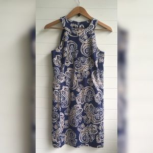 [LOFT] Mod Paisley Sheath Retro Dress Pockets Cute